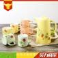 �J美陶瓷�鏊��囟Y盒�b�N花糖果色水�厮�杯卡通�F代家用送�Y